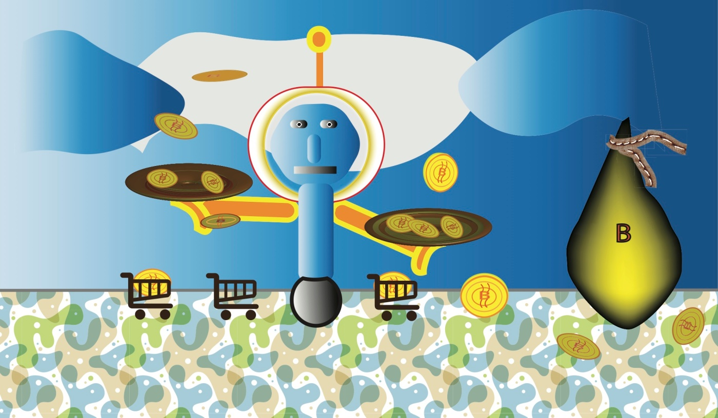 Bitcoinsfly around on two plates a robot is holding