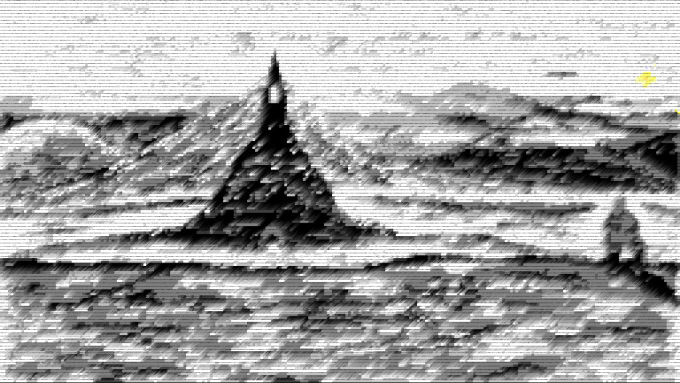 warrior sees pixelized tower in scanlines